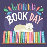 World Book Day. Hand drawn cat sleeping on books shelf with lettering vector illustration