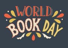 World Book Day. Hand drawn lettering on dark blue background vector illustration