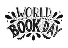 World Book Day. Hand drawn lettering on white background stock illustration