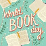 World book day, hand lettering typography modern poster design with open books royalty free stock photos