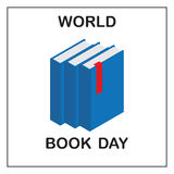 World Book Day. Image of three blue books with a red tab. Royalty Free Stock Photo