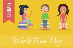World Book Day at Library Poster with Children vector illustration