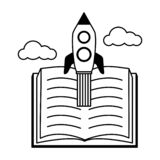 World book day. Open book flying rocket - world book day vector illustration royalty free illustration