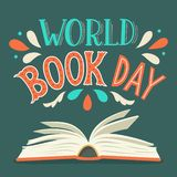 World Book Day. Open book with hand drawn lettering stock illustration