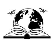 World book day. Open book planet paper plane - world book day vector illustration vector illustration