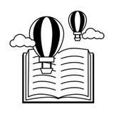 World book day. Open textbook hot air balloon - world book day vector illustration vector illustration