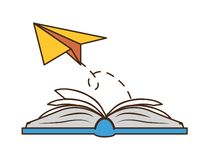 World book day. Paper plane textbook - world book day vector illustration stock illustration