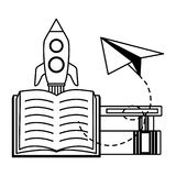 World book day. Rocket textbook paper plane - world book day vector illustration royalty free illustration