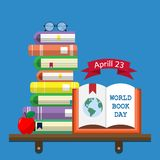 World Book Day 03. World Book Day. Stack of books with open book and glasses on white background. Reading vector illustration stock illustration