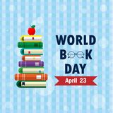 World Book Day 01. World book day. Stack of colorful books on background. Education vector illustration royalty free illustration