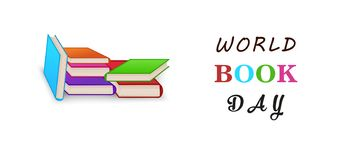 World book day. Stack of colorful books isolated on white background with copy space. Education vector illustration. vector illustration
