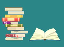 World book day. Stack of colorful books with open book. Vector illustration in flat design stock illustration