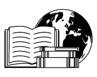 World book day. Textbooks earth map - world book day vector illustration royalty free illustration