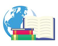 World book day. Textbooks earth map - world book day vector illustration vector illustration