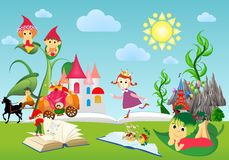In the world of books and fairy tales, book, vector illustration