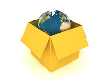 World in the box. 3d illustrationof the earth in the box Stock Photography