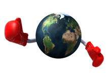 World with boxing gloves Royalty Free Stock Image