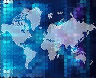 World bright blue map geometric background Royalty Free Stock Photo