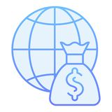 World budget flat icon. Global payment blue icons in trendy flat style. Globe and money bag gradient style design. Designed for web and app. Eps 10 stock illustration