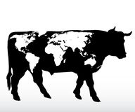 World bull. Vector drawing of the bull with stylized map of the world Royalty Free Stock Image