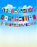 World bunting flags on blue sky. Stock Photography