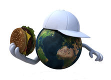 The world with a burger and hat. The world with a burger and baseball white hat 3d illustration Stock Image