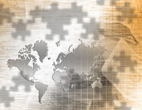 World Business. World map and US currency puzzle Royalty Free Stock Images
