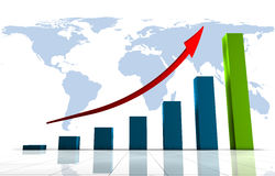 World Business 3D Graph. Growing a chart with an arrow pointing up, against the world Stock Images