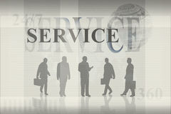 World Business Concept. Overlapping designs of silhouette businesspeople, the word service, 24/7, //360, world graphic, and various bars and lines Stock Photo