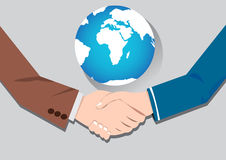 World Business Concept handshake. Vector concept  handshake businessmen deal and partnership in world Stock Images