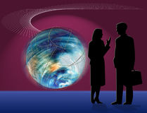 World Business Discussion. World Business Concept with Illustration of Earth in motion as business man and woman chat Stock Images