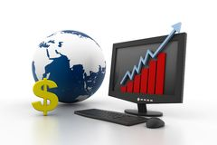 World business growth concept. 3d World business growth concept Stock Photos