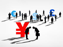 World Business People with Currency Symbols Royalty Free Stock Photo