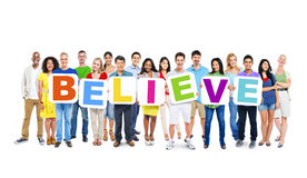 World Business People Holding Word Believe Royalty Free Stock Photography