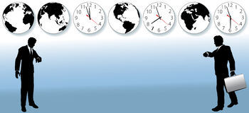 World Business People Time Zone Travel Clock. Busy business people hurry to flights or appointments to do global business. Clocks and globes suggest Royalty Free Stock Photo