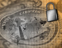 World Business Security Composition. With Map of Earth, Time and Padlock Stock Photo