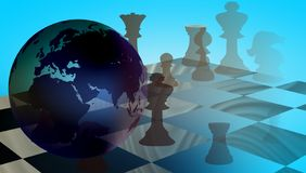 World Business Trade Strategy Chess. An abstract world map background with a globe feel and all the continents. many uses for banner, background, wallpapers royalty free illustration