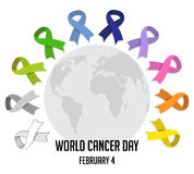 World cancer day. colorful awareness ribbons  over white background. vector Royalty Free Stock Images