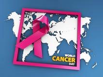 World Cancer Day concept. 3d Illustration isolated blue. World Cancer Day concept, 3d Illustration isolated blue Stock Image