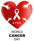 World Cancer Day , 3d heart with hand and ribbon vector illustration stock illustration