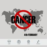 World cancer day design background with icons. Vector Illustration vector illustration