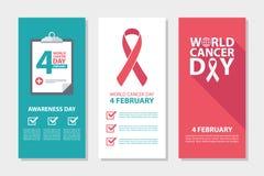 World Cancer Day, 4 february awareness day flyers set. stock illustration