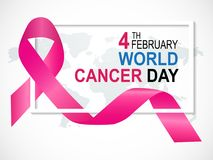World Cancer Day. On 4 February Background, pink ribbon on world map Royalty Free Stock Images