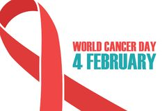 World Cancer Day, 4 february background with red awareness ribbon. vector illustration