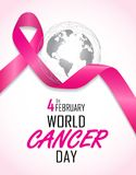 World cancer day. Pink ribbon with world logo background Stock Photography