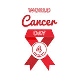 World Cancer Day greeting emblem Royalty Free Stock Image