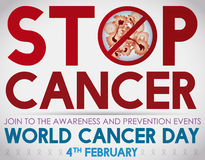 World Cancer Day Invitation to Join to Awareness against Cancer, Vector Illustration Royalty Free Stock Photo