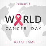 World cancer day, map lettering banner, We can I can. February 4 Royalty Free Stock Images