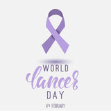 World Cancer Day poster with calligrphy. February 4. Th Stock Images