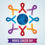 World cancer day. template design world cancer day with ribbons. vector illustration